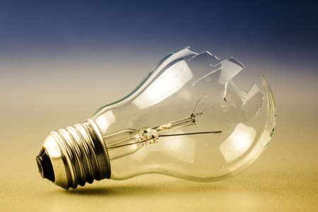 thoughtless: Broken light bulb as symbol of thoughtless or problem in thinking concept