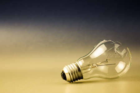 Broken light bulb as symbol of thoughtless or problem in thinking concept