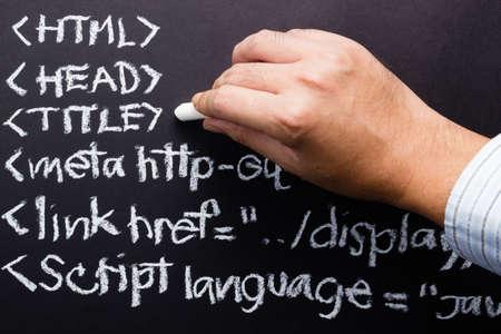 metadata: La scrittura a mano il codice sorgente del computer con il gesso