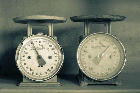 2 つの古い台所計量機は不正確なスケールを表示します。