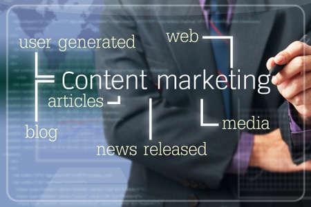 Zakenman schrijven Content Marketing concept op het scherm Stockfoto