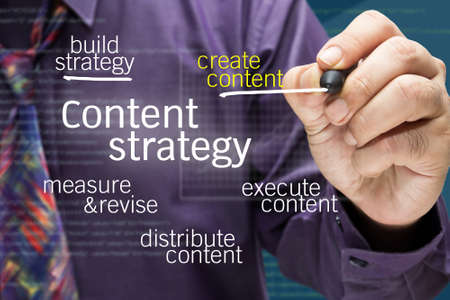 content management: Businessman writing Content strategy concept on screen