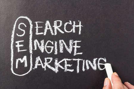 sem: Hand writing Search Engine Marketing (SEM) topic with chalk