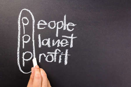 People, planet, profit, 3p marketing of sustainable business on chalkboard photo