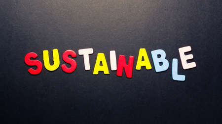 topic: Sustainable word topic in cut wood letter