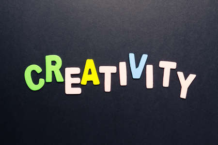 small articles: Creativity word topic in cut wood letter