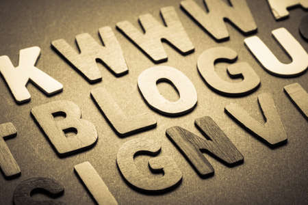 topic: Blog word topic in cut wood letter