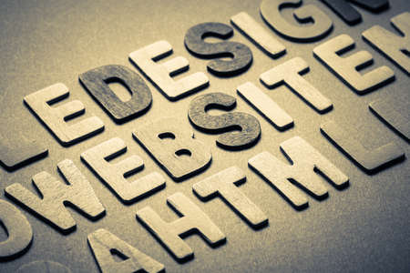Abstract website word topic in cut wood letter photo