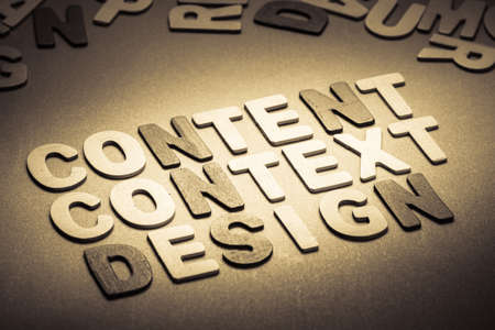 context: Content, context, design topic in wood letter