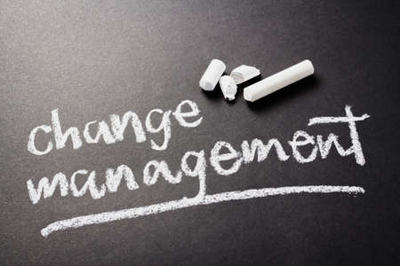 topic: Change Management topic, handwritten with chalk