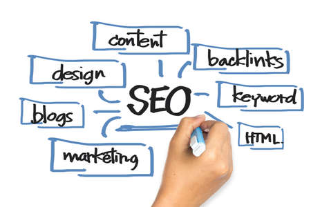 backlink: Hand writing SEO (Search Engine Optimization) concept on whiteboard Stock Photo
