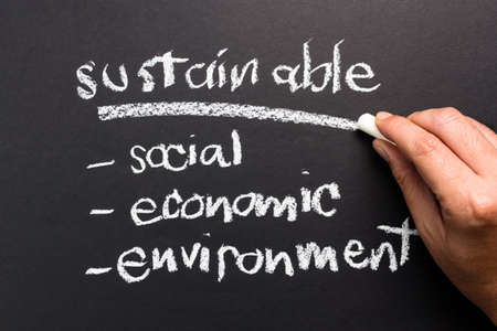 topic: Sustainable topic on chalkboard for sustainable development business concept
