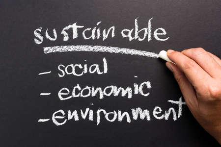 desarrollo sustentable: Tema Sostenible en la pizarra para el desarrollo sostenible concepto de negocio Foto de archivo