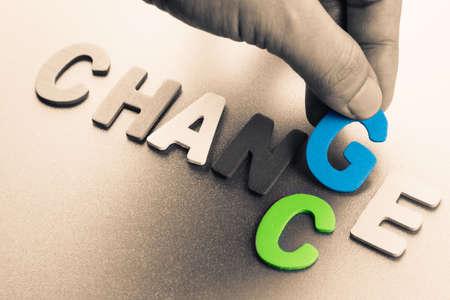 Finger-Pick ein Holz Buchstaben von Wandel und Chance Wort Konzept