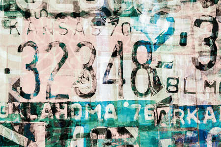 car plate: Abstract painting on canvas texture inspired by car license plate