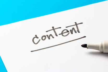 topic: Content topic, handwriting on white paper Stock Photo