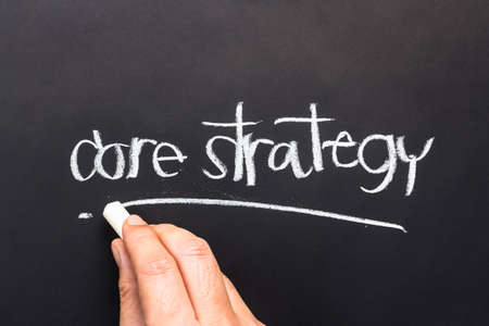 core strategy: Hand writing Core strategy topic with chalk