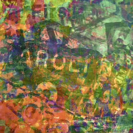 mixture: Abstract grunge painting, mixed media Stock Photo