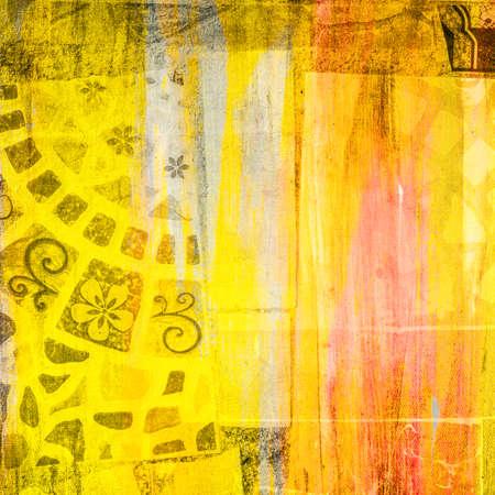 mixed media: Abstract grunge painting, mixed media Stock Photo