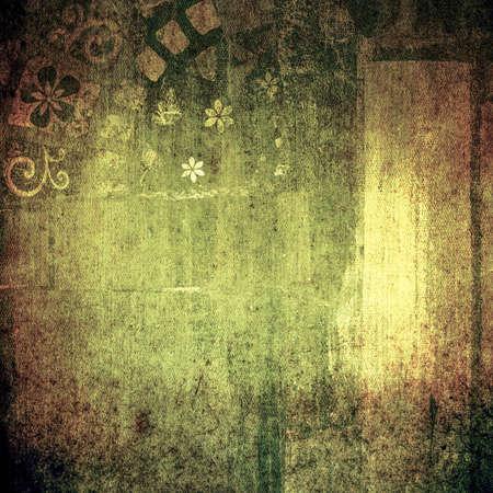 mixed media: Abstract dark green painting, mixed media