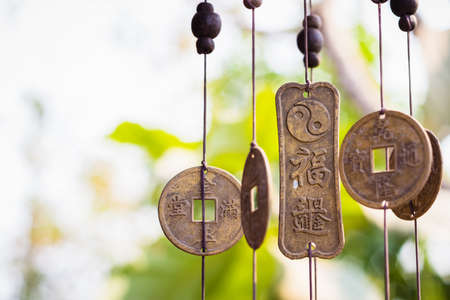 Feng Shui chimes hanged outside the house  for protection and good luck 版權商用圖片 - 37861466