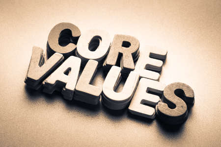 core strategy: Stack wood letters as Core Values word