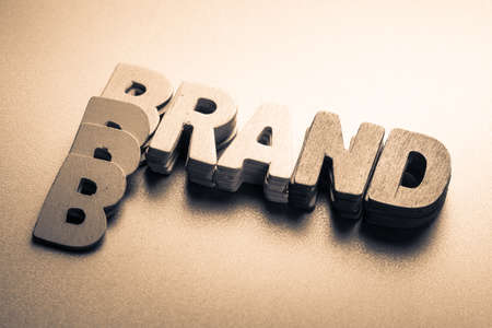 Stack wood letters as Brand word