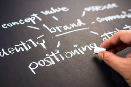 Hand writing business branding concept on chalkboard, focus at positioning word Foto de archivo
