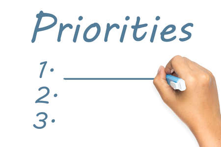 priorities: Hand writing Priorities topic with blank lists on whiteboard Stock Photo