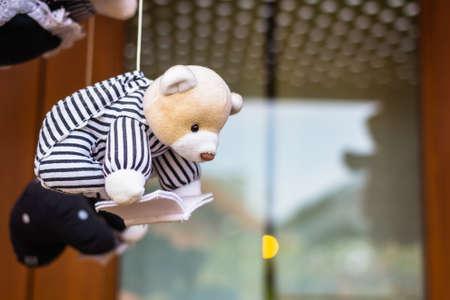 hanged: Decorative hanged bear doll reading book