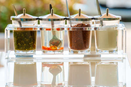 flavorings: Various common condiments of Thai food or noodle