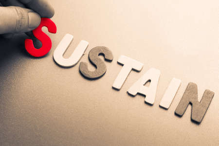sustain: Hand arrange wood letters as Sustain word Stock Photo