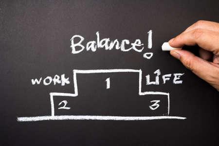 best hand: El equilibrio es la mejor, el concepto gr�fico de la mano del trabajo y conciliaci�n de la vida en la pizarra Foto de archivo