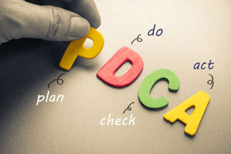 Hand arrange wood letters as PDCA abbreviation ( plan, do, check, act)
