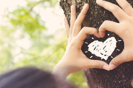 Hands make a heart sign on tree trunk with drawing heart, retro color style 스톡 콘텐츠