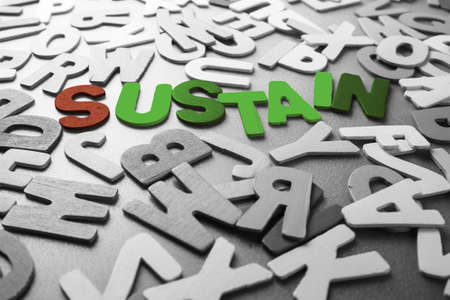 sustain: Color Sustain word in scattered black and white wood letters