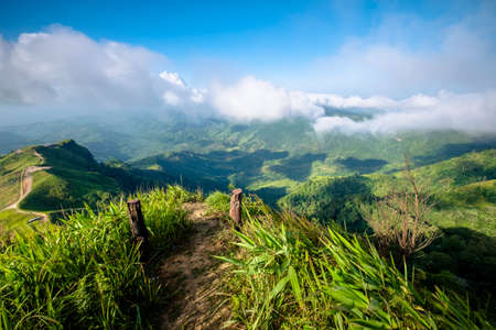 national scenic trail: Trail on the top of the mountain, scenic landscape at Phu Hin Rong Kla National Park, Phitsanulok, Thailand