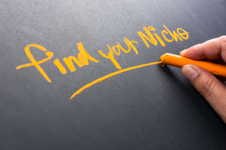 niche: Hand writing Find Your Niche on chalkboard