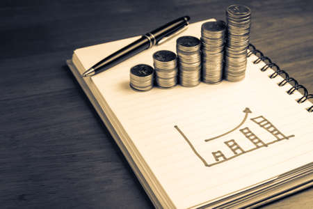 Drawing growth graph in notebook with heap coins stair, financial plan concept