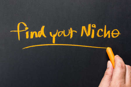 specialize: Hand writing Find Your Niche on chalkboard