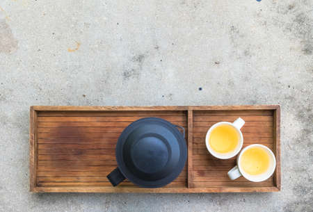tea filter: Hot tea set on concrete table