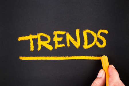 topic: Hand writing Trends topic on chalkboard
