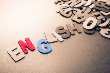 small articles: English wood letters out of the pile Stock Photo