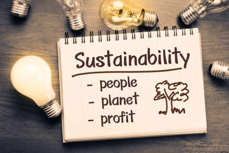 sustainability: Sustainability concept as memo on notebook with light bulbs Stock Photo
