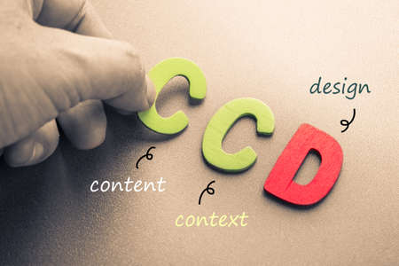 title hands: Hand arrange wood letters as CCD abbreviation of Content, Context and Design Stock Photo
