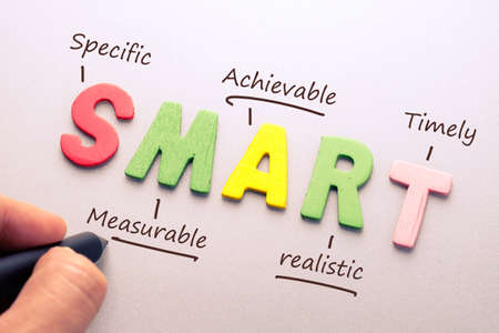 Wood letter of Smart word with hand writing definition for smart goal setting concept 写真素材