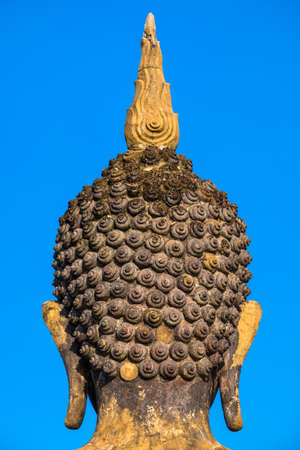 occiput: Spiral detail of ancient Buddha statue, back of head Stock Photo