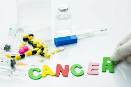 word medicine: Cancer word with medicine and equipments