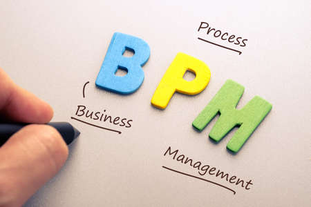 bpm: Wood letter of BPM abbreviation with hand writing definition