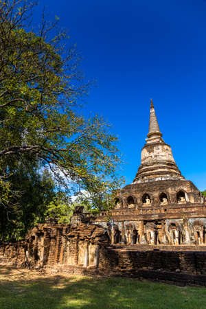 the world heritage: Wat Chang Lom pagoda in Si Satchanalai Historical Park in Thailand, world heritage Stock Photo